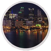 Pittsburgh After The Setting Sun Round Beach Towel