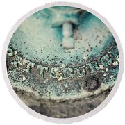 Pittsburgh In Teal Relief On A Vintage Water Pump Round Beach Towel