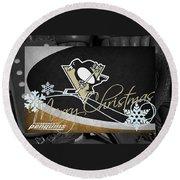Pittsburgh Penguins Christmas Round Beach Towel