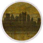 Pittsburgh Pennsylvania City Skyline Silhouette Distressed On Worn Peeling Wood No Name Version Round Beach Towel