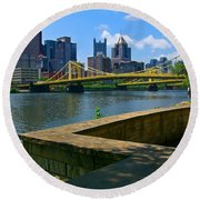 Pittsburgh Pennsylvania Skyline And Bridges As Seen From The North Shore Round Beach Towel