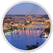Pittsburgh Pennsylvania Skyline At Dusk Sunset Extra Wide Panorama Round Beach Towel