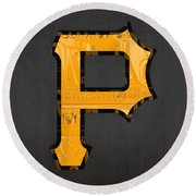 Pittsburgh Pirates Baseball Vintage Logo License Plate Art Round Beach Towel