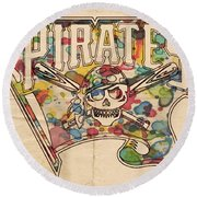 Pittsburgh Pirates Poster Art Round Beach Towel