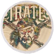 Pittsburgh Pirates Poster Vintage Round Beach Towel