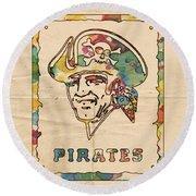 Pittsburgh Pirates Vintage Art Round Beach Towel