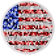 Pixel Flag Round Beach Towel