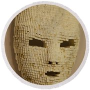 Pixelated Face Round Beach Towel