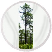Pixelated Pine Round Beach Towel