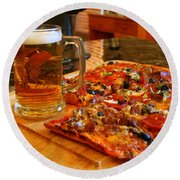 Pizza And Beer Round Beach Towel