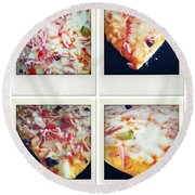 Pizza Round Beach Towel by Les Cunliffe