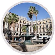 Placa Reial In Barcelona Round Beach Towel