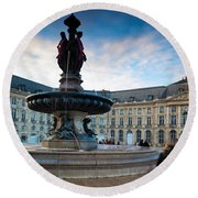 Place De La Bourse Buildings At Dusk Round Beach Towel
