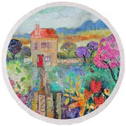 Place In The Country, 2014, Acrylicpaper Collage Round Beach Towel