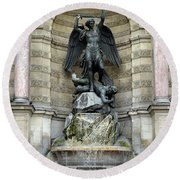 Place Saint Michel Statue And Fountain In Paris France Round Beach Towel