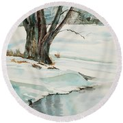 Placid Winter Morning Round Beach Towel