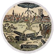 Plague Of London, 1665 Round Beach Towel