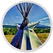Plains Tribes Teepee Round Beach Towel