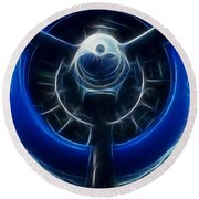 Plane Blue Prop Round Beach Towel by Paul Ward
