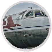 Plane Capital Airlines Round Beach Towel