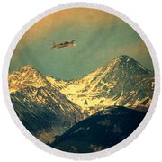 Plane Flying Over Mountains Round Beach Towel
