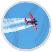 Plane In Air  Round Beach Towel