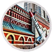Plane In The City Round Beach Towel