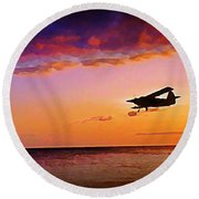 Plane Pass At Sunset Round Beach Towel