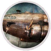 Plane - Pilot - The Flying Cloud  Round Beach Towel by Mike Savad