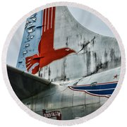 Plane Tail Wing Eastern Air Lines Round Beach Towel