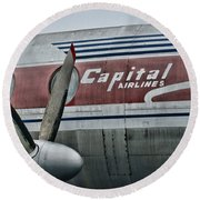 Plane Vintage Capital Airlines Round Beach Towel by Paul Ward