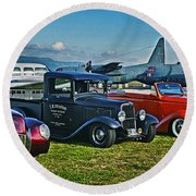 Planes And Cars Round Beach Towel