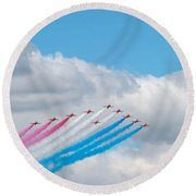 Planes Fly In Airshow Round Beach Towel