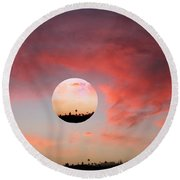 Planet And Sunset Round Beach Towel
