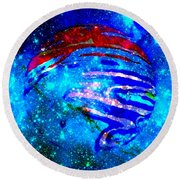 Planet Disector Blue/red Round Beach Towel