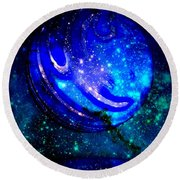 Planet Disector Reflected Round Beach Towel