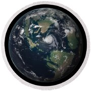 Planet Earth 90 Million Years Ago Round Beach Towel by Walter Myers
