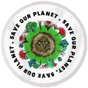 Planet Earth Icon With Slogan Round Beach Towel