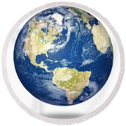 Planet Earth On White - America Round Beach Towel by Johan Swanepoel