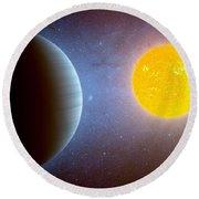 Planet Kepler10 Stellar Family Portrait Round Beach Towel