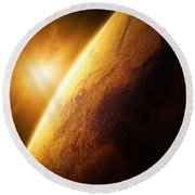 Planet Mars Close-up With Sunrise Round Beach Towel