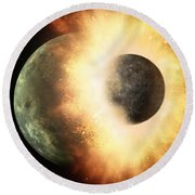 Planetary Demolition Derby  Round Beach Towel