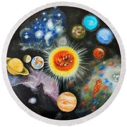 Planets And Nebulae In A Day Round Beach Towel