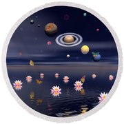 Planets Of The Solar System Surrounded Round Beach Towel