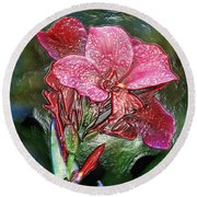 Plastic Wrapped Pink Flower By Diana Sainz Round Beach Towel