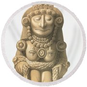 Plate From Ancient Monuments Of Mexico Round Beach Towel