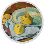Plate Of Apples Round Beach Towel by Paul Serusier
