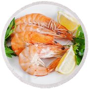 Plate With Shrimps  Round Beach Towel