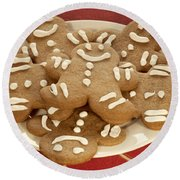 Plateful Of Gingerbread Cookies Round Beach Towel by Juli Scalzi
