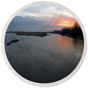 Platte River, Nebraska Round Beach Towel
